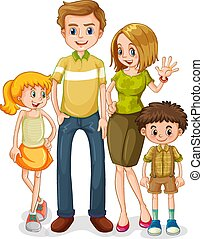 Happy family character on white background