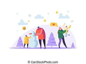 Happy Family Characters Making Snowman on Winter Holidays. Cheerful Mother and Father with Children on Christmas Season. Vector illustration