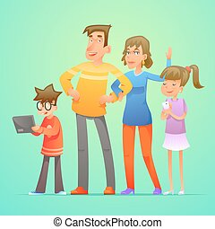 Happy family characters set cartoon design vector illustration