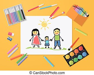Happy family. Child Drawing