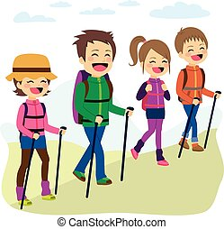 Happy Family Climbing Mountain - Happy family climbing...