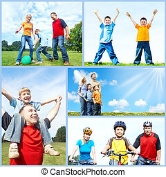 Happy family collage. - Happy family collage background....