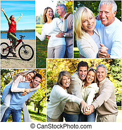 Happy family collage.