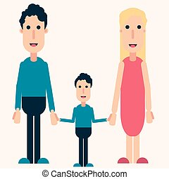 Happy family color vector, love, friendship, boy, man, woman