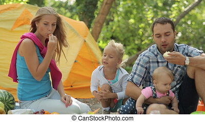 Happy family consisting of four people eating at a picnic on the nature