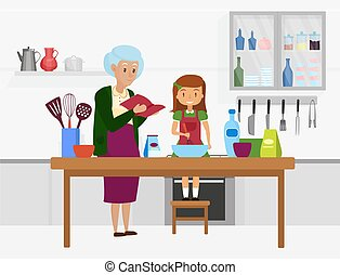 Happy family cook food together, grandmother granddaughter characters cooking in kitchen
