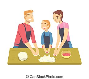 Happy Family Cooking Dumplings in the Kitchen, Parents Spending Time with their Son and Cooking Together Cartoon Style Vector Illustration