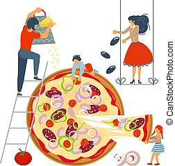 Happy family cooking together a pizza