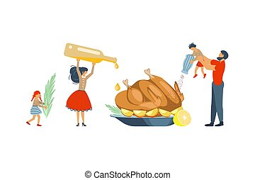 Happy family cooking together a turkey
