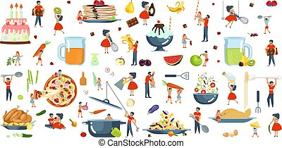 Happy family cooking together set.