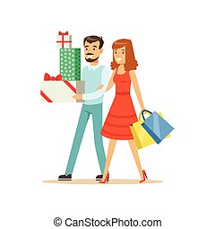 Happy family couple walking with shopping bags and gift boxes colorful character vector Illustration