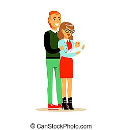 Happy family couple with newborn baby colorful characters vector Illustration
