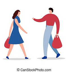 Happy family couple with shopping. Man with a grocery and a packages woman with the packages. Vector illustration of a flat design. People are engaged in holiday shopping. Girl buy gifts with bright packages