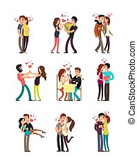 Happy family couples in love. Wedding people vector cartoon characters