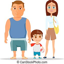 Happy family dad, mom and son. Vector