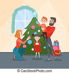 happy family decorating christmas fir tree father mother son and daughter celebrating new
