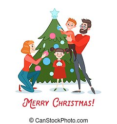 Happy Family Decorating Christmas Tree. Father, Mother, Son and Daughter Celebrating New Year. Vector illustration