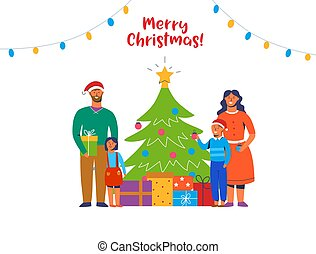Happy Family Decorating Christmas Tree. Winter Holidays Characters at Home with Gifts. Parents and Children Together Celebrating New Year. Vector illustration