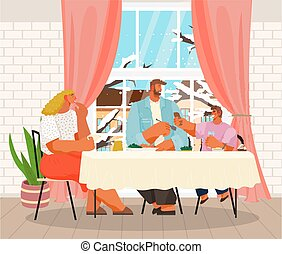 Happy family dining at home near winter window. Parents spend time with children in living room