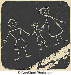 Happy family doodle. Picture on asphalt. Vector...