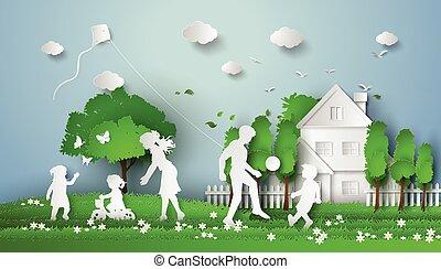 Happy family having fun .paper cut style.