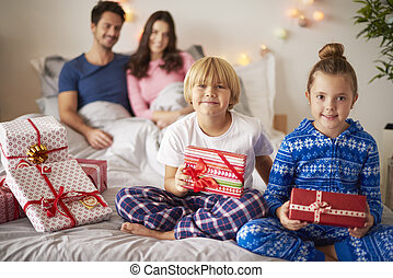 Happy family during the Christmas time