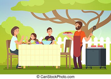 Happy family eating barbecue outdoor. Man, woman and kids cooking and grilling on summer holiday
