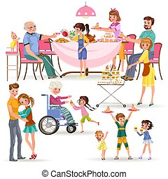 happy family eating dinner at home, people eat food together, mom and dad treat grandfather sitting by dining table, girl takes care of old grandmother, children hold cakes vector illustration