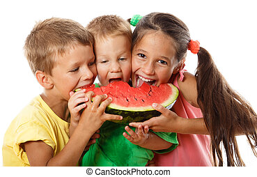 Happy family eating watermelon, isolated on white
