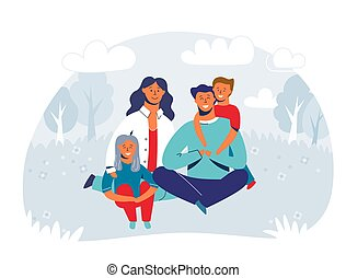 Happy Family enjoying Picnic. Mother, Father and Children Characters smiling and sitting on grass. People in the Park or Forest. Vector Illustration