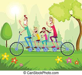 Happy family enjoying tandem bicycle ride