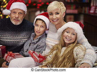 Happy family enjoying the Christmas time