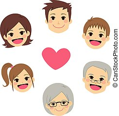 Happy Family Faces Circle Heart - Cute happy family members...