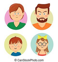 Happy family faces. Vector flat avatars. Mother, father, teen, sister, brother.
