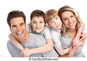 Happy family. Father, mother and children. Over white ...