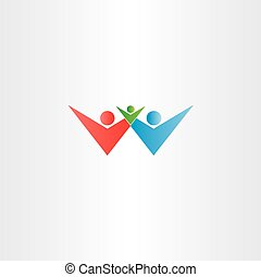 happy family father mother baby child vector logo