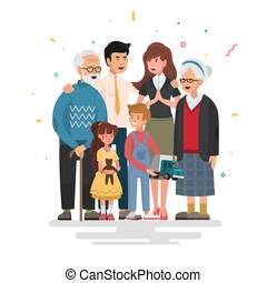 Happy family. Father, mother, grandfather,grandmother and children.