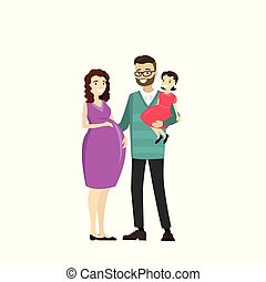 Happy family - father, pregnancy mother, daughter,