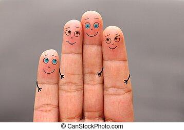 Happy family finger face