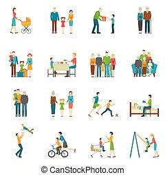 Happy Family Flat Icons