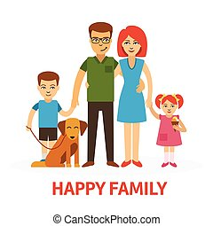 Happy family flat vector illustration with mother, father, daughter, son and dog in flat style isolated on white background