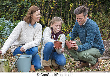 Happy Family Girl Child Father Mother Daughter Gardening