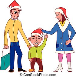Happy family going Christmas shopping together with Santa Claus