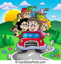 Happy family going on vacation - color illustration.