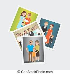 Happy Family Group Portraits Vectors Set