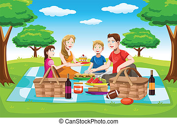 Happy family having a picnic - A vector illustration of a...