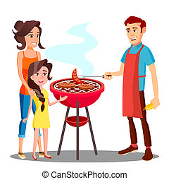 Happy Family Having Barbecue In The Outdoor Vector. Isolated Illustration