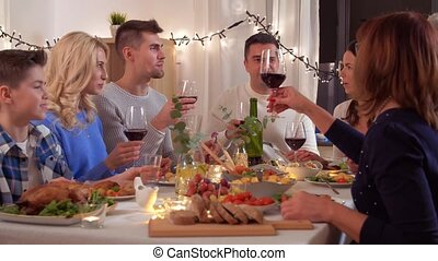happy family having dinner party at home - celebration,...