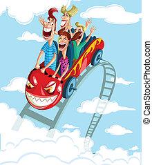 Happy family having fun ride - Happy family enjoying fun...
