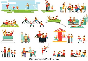 Happy Family Having Good Time Together Set Of Illustrations...